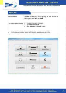 QM-PLAIN Calibres Lisses - Logiciel BLET QM SOFT