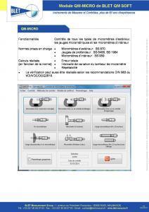 QM-MICRO Micromètres - Logiciel BLET QM SOFT