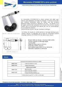 Micromètres à étrier profond - Micromètres STEINMEYER