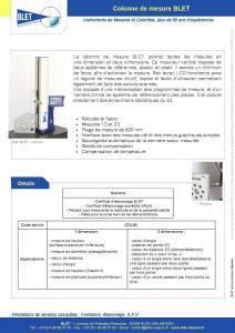 Colonne de mesure - Métrologie BLET