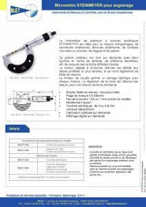Micromètres Steinmeyer pour engrenage