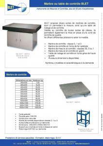 Marbres ou tables de contrôle BLET