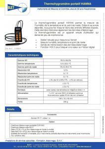 Thermo Hygromètre portatif HANNA BLET