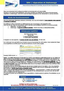 MODE DE FONCTIONNEMENT SAV ET ETALONNAGE