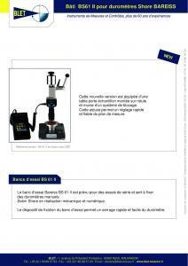 Bâti BS 61 II pour duromètres BAREISS