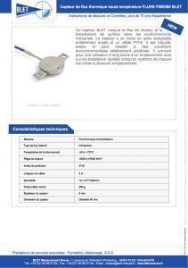 Capteur de flux thermique FLUH0-T000300 BLET
