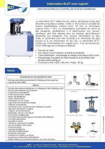 Calorimètre BLET pour Laboratoire