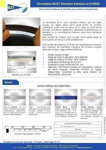 Circomètre PI TAPE - Diamètre Intérieur - O-RING