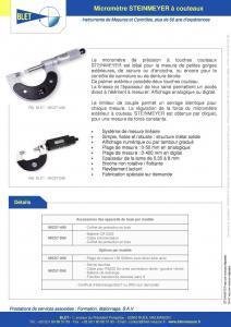 Micromètre digital à lame fine et touche couteau