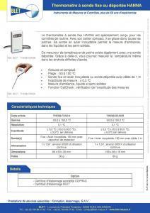 Thermomètre à Sonde HANNA - BLET Mesures